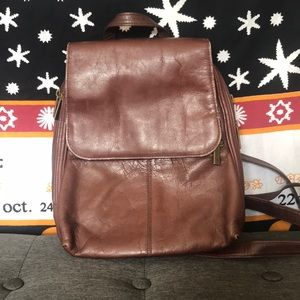 Handbags - Brown Leather Small Backpack